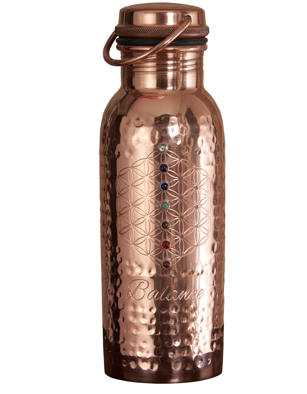 Ayurveda Wellness Copper Bottle Balance Mantra 7 Crystals